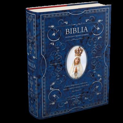 Biblia w obwolucie z Matką Boską Fatimską