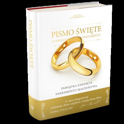 Biblia w obwolucie pamiątka ślubu